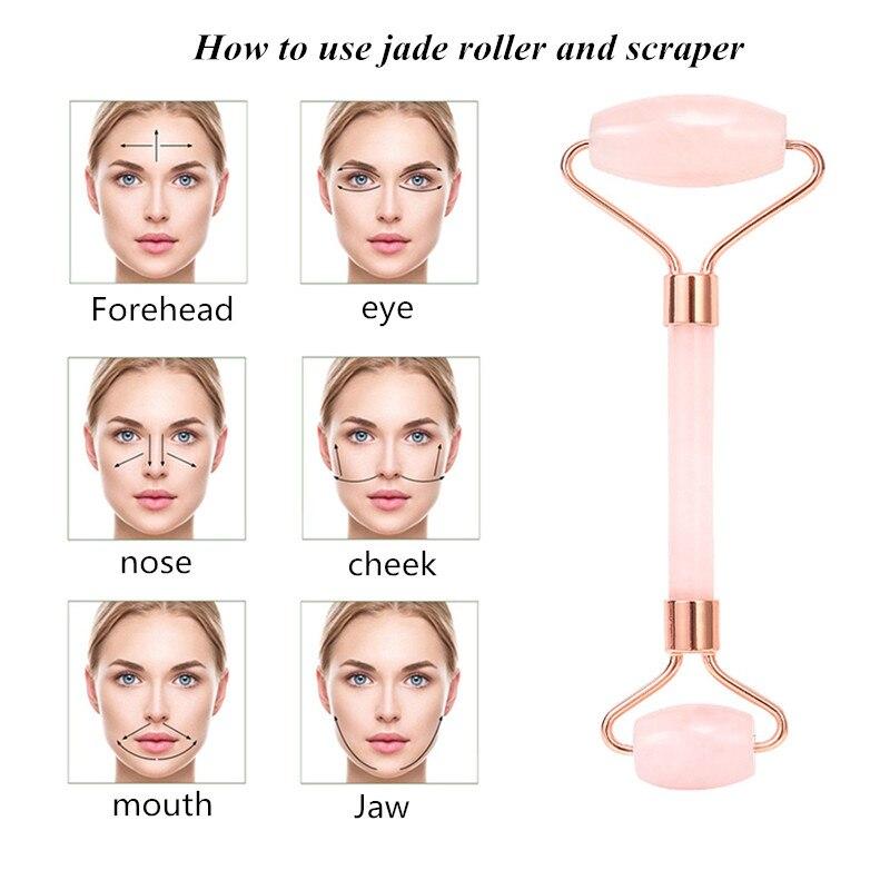 Rose Quartz Powder Crystal Jade Roller Massage Spa Natural Pink Handmade Gua Sha Stone Facial Beauty Device Face Skin Care Tool
