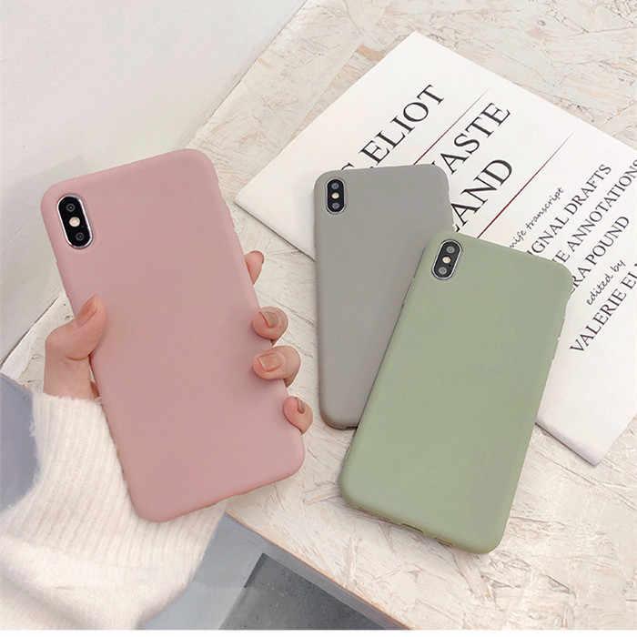 Dễ Thương Matte Solid Kẹo Ốp Lưng Điện Thoại Iphone 11 11 Pro Max XS Max XR Đơn Giản Dẻo Silicone Dành Cho iPhone 7 6 S 8 Plus Bìa Mềm