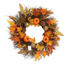 купить Maple Leaf Pumpkin Wreath Artificial Pumpkin Wreath Front Door Decoration Thanksgiving Decorative Wreath дешево