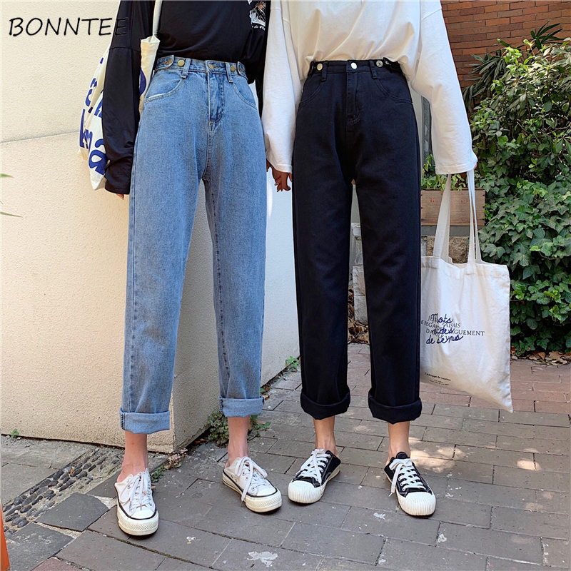 Jeans Women High Quality Denim Long Trousers Streetwear Korean Style Harajuku Straight Students Adjustable Waist Womens Elegant