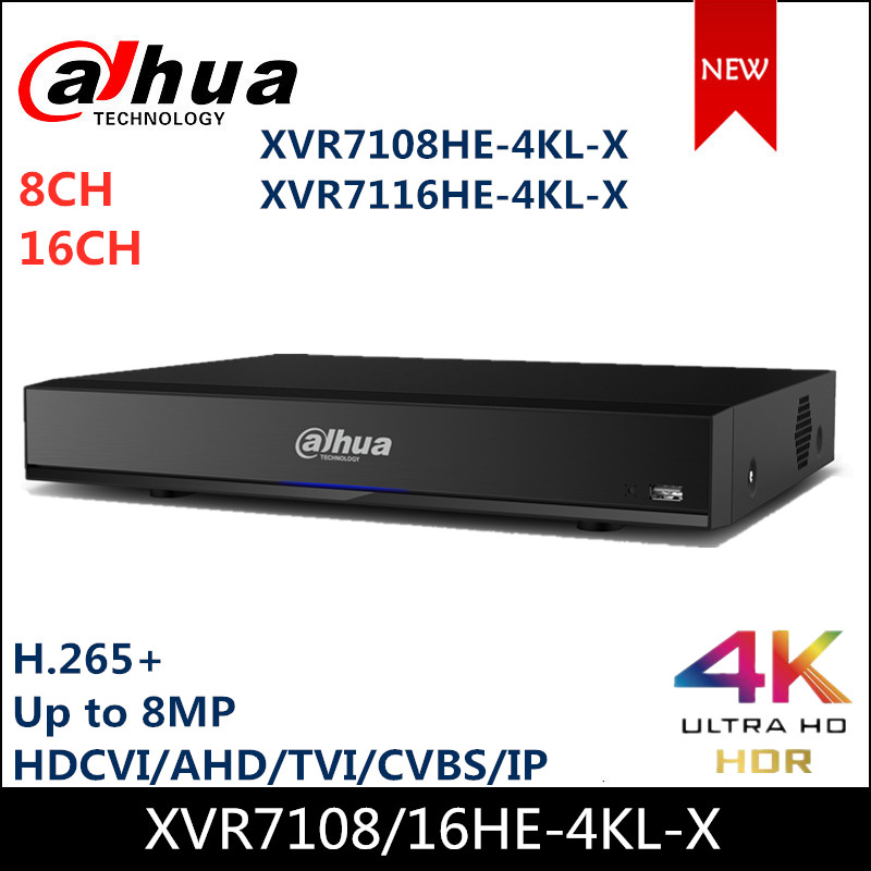 Dahua 8CH 16 Channel XVR XVR7108HE-4KL-X XVR7116HE-4KL-X Penta-brid 4K Mini 1U Digital Video Recorder IoT & POS Functionalities