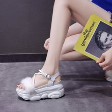 hairy maclary scattercat 2020 new summer thick bottom increased hairy sandals women's fashion wild woven sandals muffin Z1015