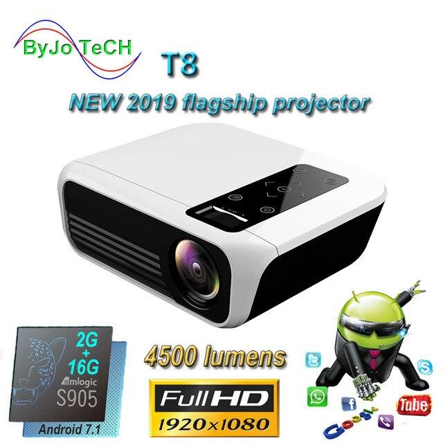 ByJoTeCH T8 โปรเจคเตอร์LED 4500 ลูเมน 1920x1080 โฮมเธียเตอร์Beame 3D Full HD 1080P Amlogic S905 Android proyector VS T6