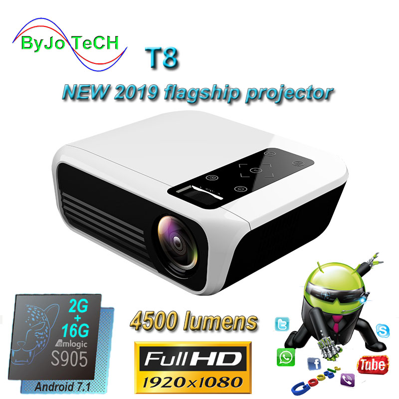 ByJoTeCH T8 New LED projector 4500 Lumens 1920*1080 Home Theater Full HD 1080P Amlogic S905 2G 16G Android 7.1 Proyector BeameLCD Projectors   -