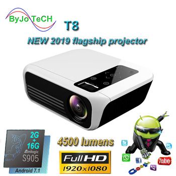 ByJoTeCH T8 nuevo proyector LED 4500 lúmenes 1920*1080 del teatro casero Full HD 1080P Amlogic S905 2G 16G Android 7,1 Proyector Beame