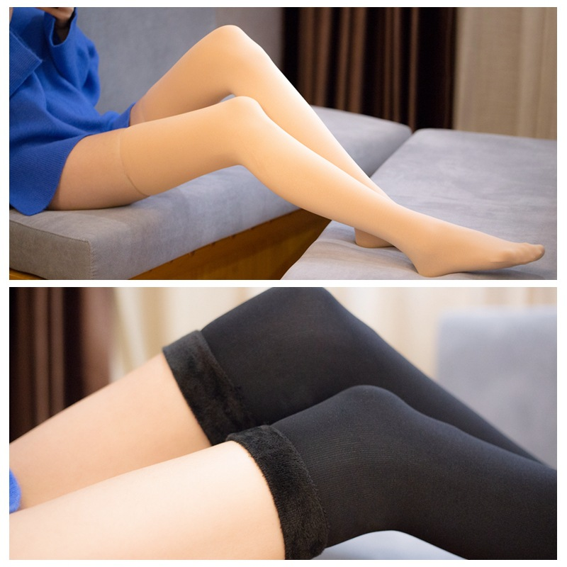 1Pair New Autumn Winter Women Girls Stockings Fashion Over Knee Thigh High Elastic Long Stockings Plus Velvet Black/ Skin Color