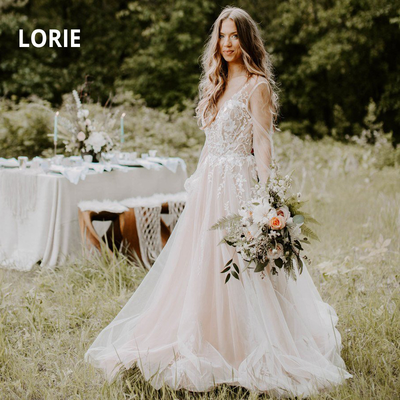 LORIE A-line Wedding Dresses Lace Appliques With Tulle Wedding Gowns White Ivory Puff Sleeve Bridal Dress 2019 Vestido De Noiva