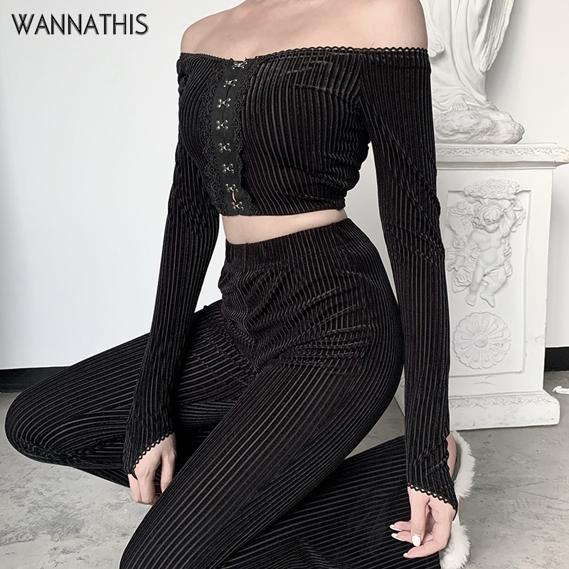 WannaThis 2 Pieces Sets Women Off Shoulder Cropped Top And Flare Pant Ribbed Knitted Cotton Casual Frot Button Elastic Sping Set