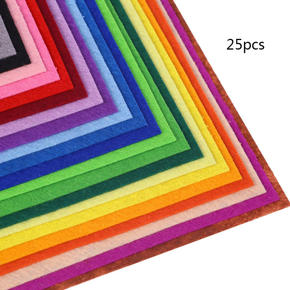 25 Pcs Soft Felt Nonwoven Fabric DIY Craft Patchwork Sewing Squares Sheet Assorted Color Felt Pack Nonwoven Patchwork Toys