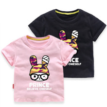 Cartoon Rabbit Toddler Kids Girls Party Wear Tops Summer Short Sleeve T-shirts For Girl Clothes Casual TShirt Baby Clothes Pink