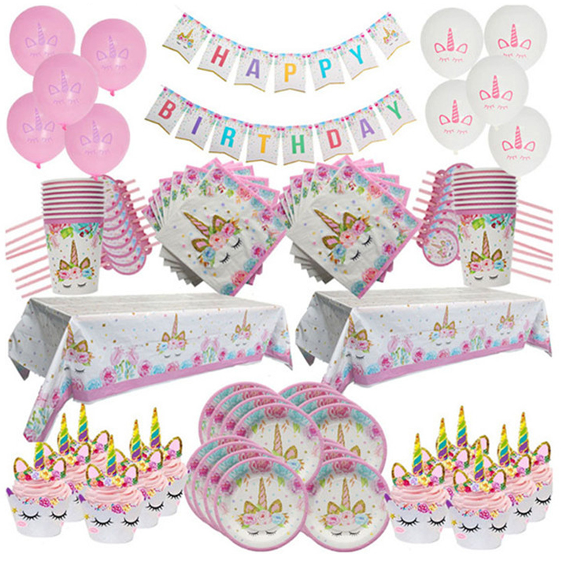 Одноразовые тарелки с единорогом, праздничное украшение на день рождения, скатерть для первого дня рождения, праздника для будущей матери, ...