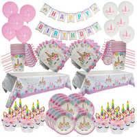 Unicornio decoración de fiesta de cumpleaños platos desechables mantel Primer Cumpleaños niña fiesta Baby Shower suministros de fiesta de Unicornio