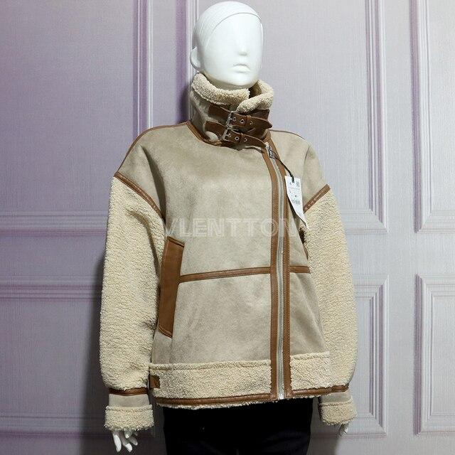 New Winter Women Thick Vintage Splice Suede Jacket Coat Loose Warm Lambswool Biker Outwear Female Oversize Faux Leather Overcoat 3