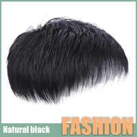 LANLAN-Peluca de cabello humano para hombre, bloque de reemplazo de cabello corto en la cabeza, bloque de reemplazo negro Natural invisible