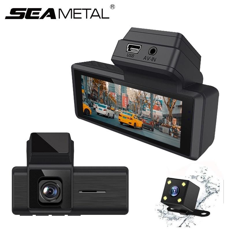 Видеорегистратор с двумя объективами, 3-дюймовый мини-видеорегистратор, WDR, супер ночное видение, 1080P, 24-часовой парковочный монитор, Автомоб...