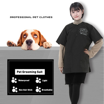 Universal Size Pet Beautician Wrap Anti Static Hairdressing Grooming Apron For Dog Cat Cleaning Pet Work Smock Gown Waterproof