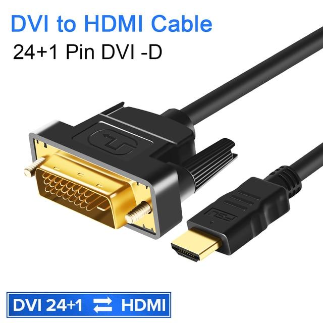 DVI To HDMI 1080P 3D HDMI To DVIสายHDMI DVI D 24 + 1พินอะแดปเตอร์สำหรับHDTV DVD XBOX PS4 3 HDMI To DVI Cable 1M 2M 3M 5M