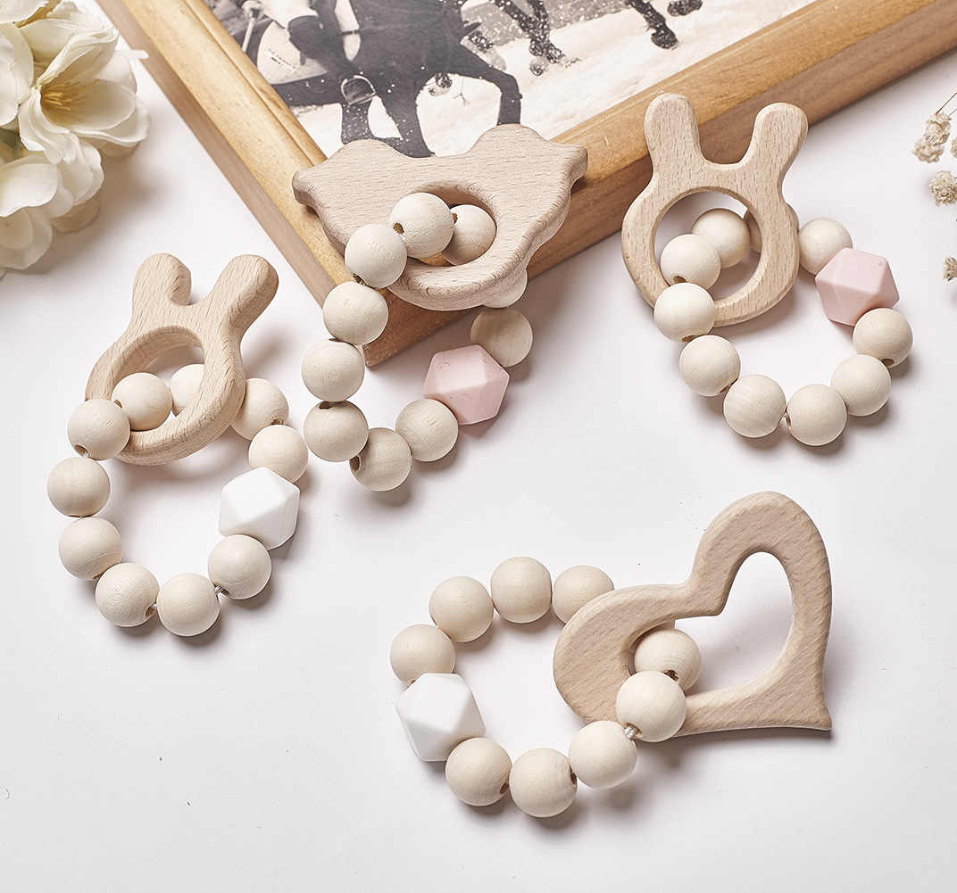 Baby Nursing Bracelets Natural Wood Teether Silicone Beads Teething Wooden Rattles Toys Baby Teething Toy Bracelets Nursing Gift