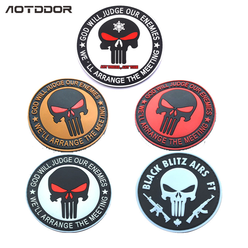 Currently Available PVC Punisher Shoulder Emblem Velcro Tactical Chapter Disposable Waterproof Cool Epaulet