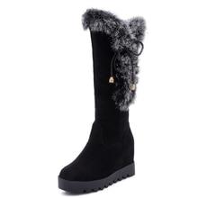Wedge-Heel Boots Flock Artificial-Rabbit-Shoes Winter Women's Sleeve Increased New