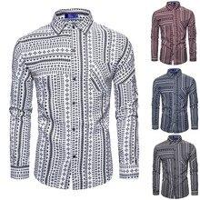 Мужская рубашка, hombre, manga larga de vestir, blucas, комбинированная, с принтом, деловая, для отдыха, Ретро стиль, с длинными рукавами, рубашка, топ, блуза# G3