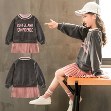 Autumn Velvet Dress for Girls Casual Fashion Girls Dress Korean Letter Printing Kids Dresses for Girls Contrast Color Kids Dress contrast tape letter print velvet tee