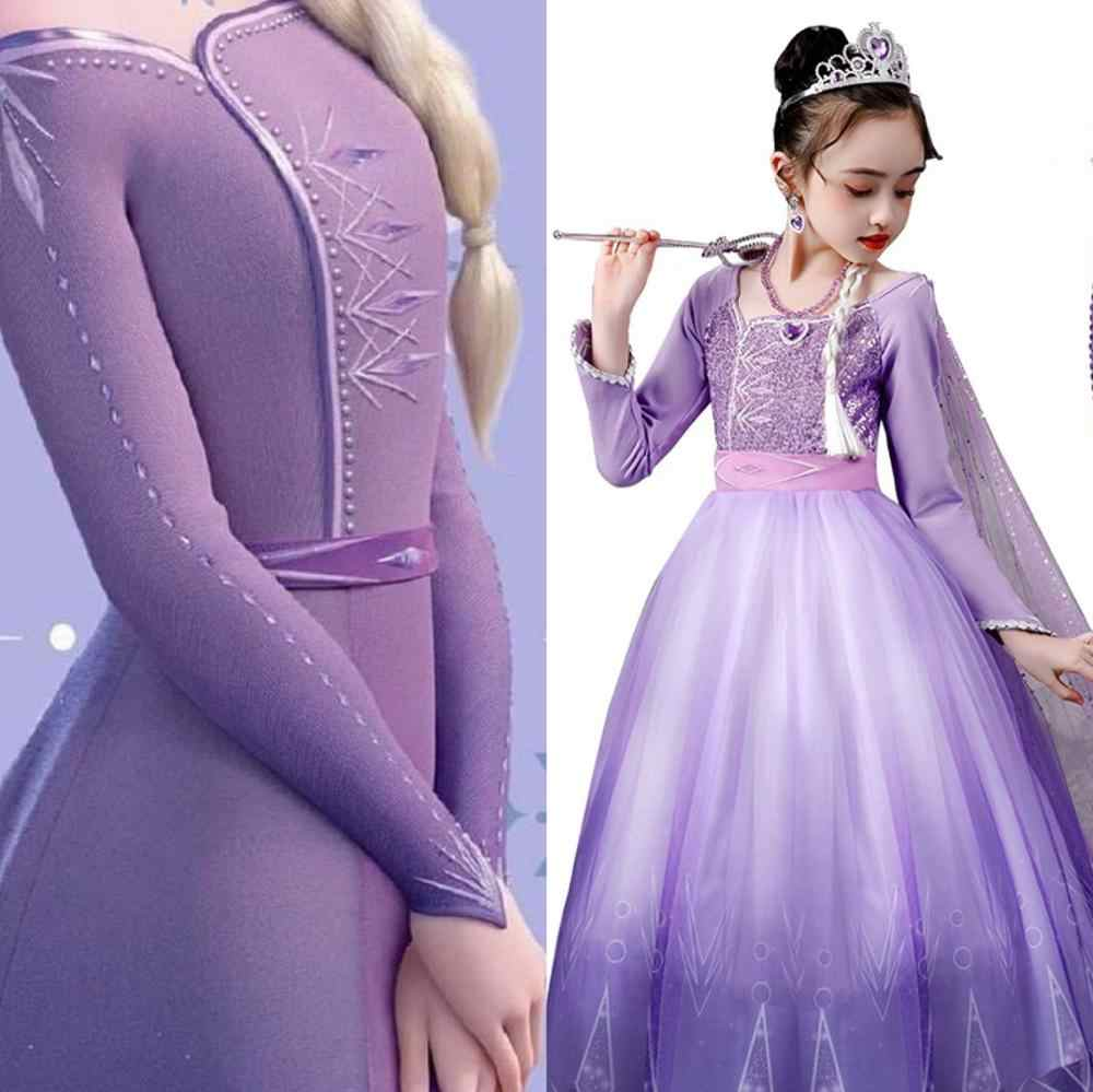 Elsa anna uzun saç Tangled prenses elbise Sequins fantezi Cosplay kostüm mor balo noel doğum günü partisi Vestido
