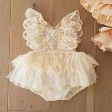 Детское летнее платье принцессы для маленьких девочек; Костюм для мальчиков; Комплект одежды с милыми кружевами из шифона с цветочным узоро...