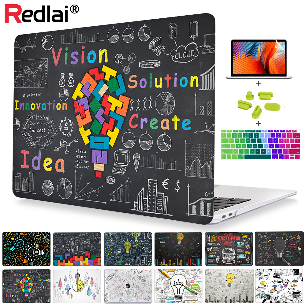 Redlai Plastic Clear Hard Case Shell Cover For MacBook Air Pro Retina 11 12 13 15 16 Inch Touch Bar 2019 A2141 A2159 A1932 Case