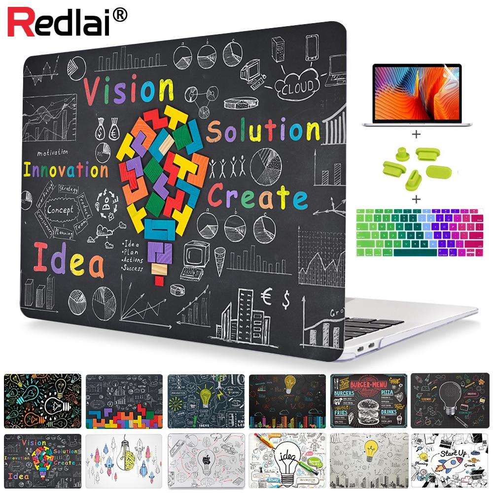 Redlai пластиковый прозрачный жесткий чехол для MacBook Air 2020 Pro Retina 11 12 13 15 16 дюймов Touch bar A2141 A2159 A1932 A2179