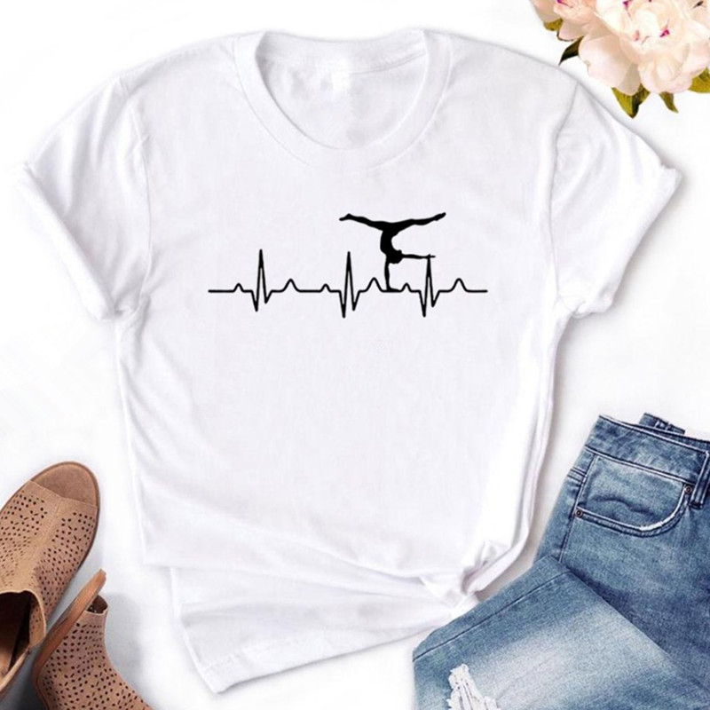 Gymnastics Heartbeat Print Women Tshirt Cotton Casual Funny T Shirt For Yong Lady Girl Top Tee