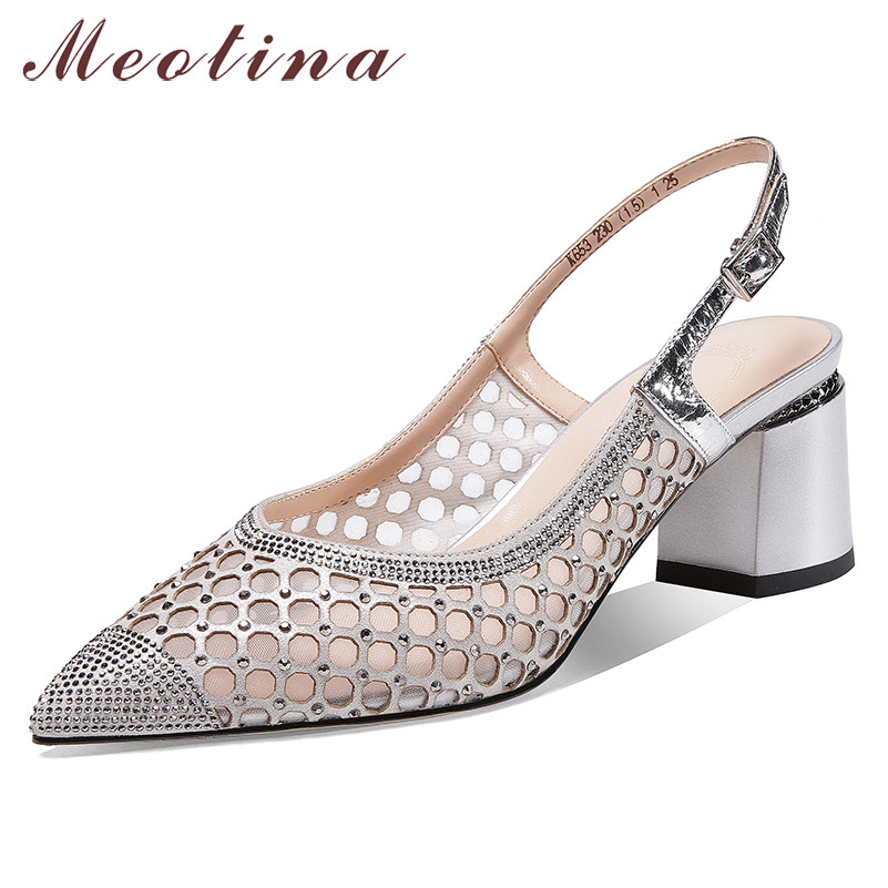 Meotina High Heels Women Pumps Natural Genuine Leather Thick High Heels Slingbacks Shoes Mesh Cutout Buckle Shoes Ladies Size 39