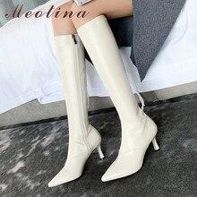 Meotina-зимние сапоги до колена женские высокие сапоги из натуральной кожи на тонком высоком каблуке облегающая растягивающаяся обувь на молнии Женская Осенняя обувь, размеры 34-39