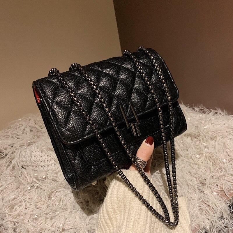 Fashion New Small Flap Bag Women's Handbag PU Leather Classic Lock Designer Sling Lady Chain Messenger Shoulder Bags For Women