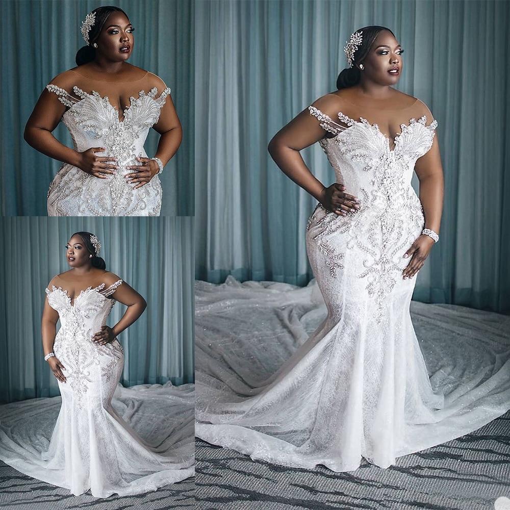 2020 Plus Size Wedding Dresses Vestido De Novia African Crystal Mermaid Wedding Dress With Long Train Sheer Neck Custom Made