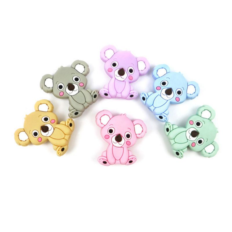 Licone Bead Animal Cute Teether Teething Safe Baby Care DIY Jewelry Necklace Toy DXAD