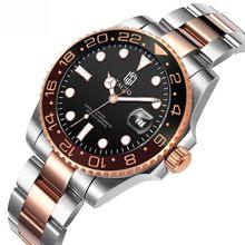 Gmt reloj de oro rosa Tacto Relogio reloj de lujo para hombres reloj deportivo conductor relojes 50M resistente al agua