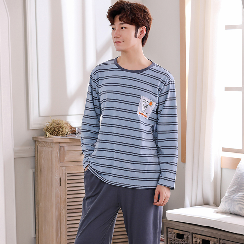 Striped Long Sleeve Tops + Gray Pants Pajama Sets For Men Plus Size L-4XL Sleepwear Autumn Male Large Pijama Pure Cotton Pyjamas