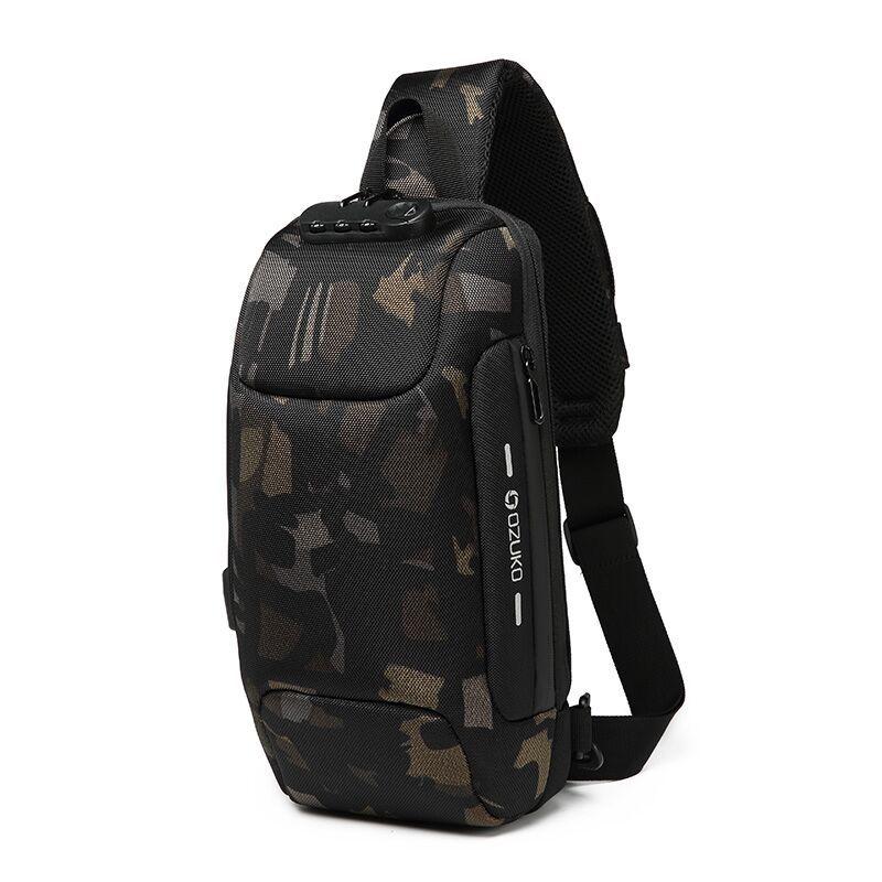 OZUKO Новая универсальная сумка через плечо для мужчин Противоугонная сумка через плечо мужская непромокаемая короткая сумка на грудь - Цвет: camouflage
