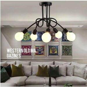 Image 5 - בציר תליון אורות מרובה מוט תליון מנורות ברזל יצוק תקרת מנורת E27 הנורה Lamparas לבית גופי תאורה