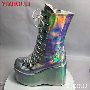 Mode Sleehak Schoenen, Show Stijl Straat Hipster Stijl Dazzle Kleur Enkellaarsjes Aangepast, model Paaldansen Schoenen(China)