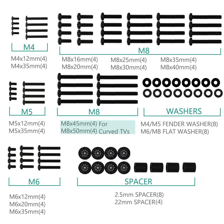 Универсальный монтажный комплект для телевизора WALI включает винты и проставку для телевизора M4 M5 M6 M8, подходят для большинства телевизоров ...