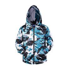 3D Zip Up Hoodie Men Camouflage Print Cosplay Hoodies Hip Hop Sweatshirt Long Sleeve Hoody Streetwear Zipper Jacket Hipster