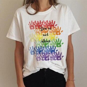 Женская футболка, топы, футболка ЛГБТ, футболка для геев, гордости, футболка для лесбиянок, радуга, футболка в стиле Харадзюку, Ullzang, забавная ...