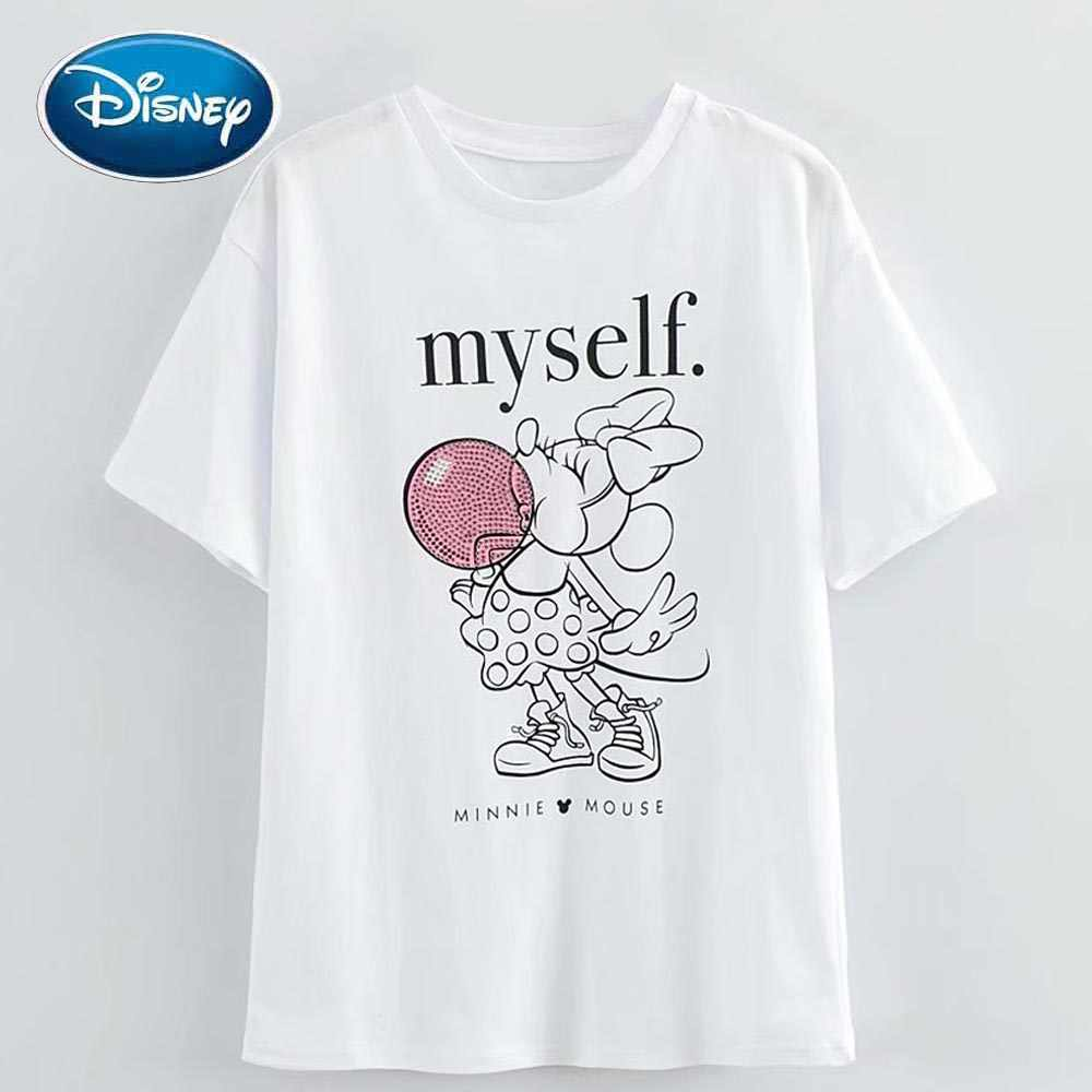Disney Fashion Minnie Mouse Cartoon Brief Print Diamanten Zoete Vrouwen T-shirt O-hals Trui Korte Mouw Wit Katoenen Tee Tops