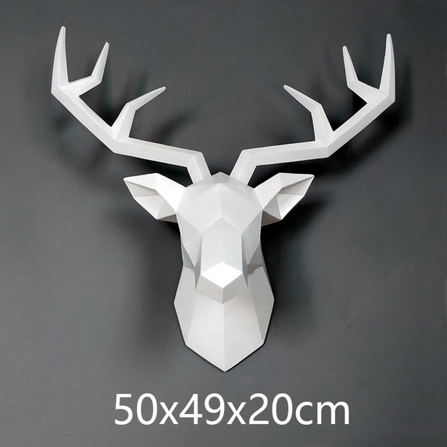 Big Deer Statue Sculpture Home Decor 50x49x20cm Hanging Wall Decoration Accessories Living Room Decor Elk Abstract Sculpture 6
