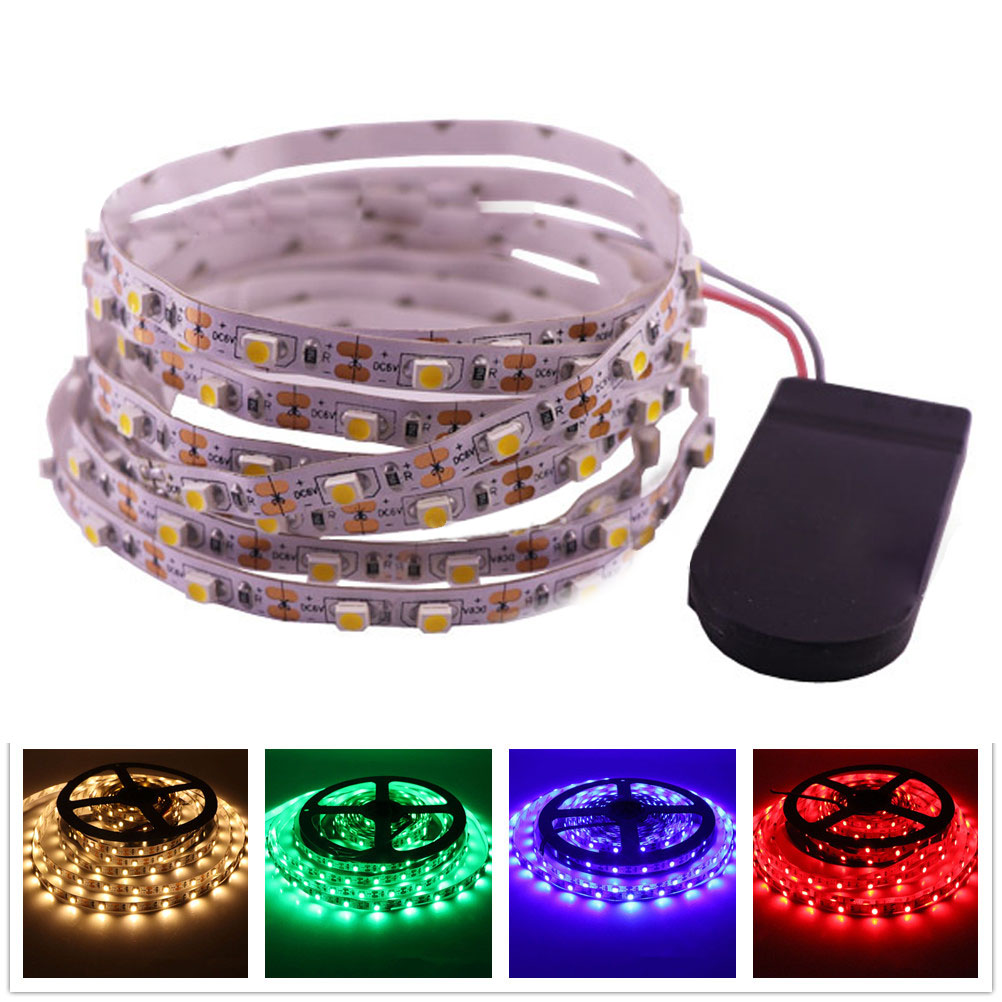 DC5V LED Strip Light Waterproof SMD3528 5MM 8MM 60LEDs/m Button Battery Powered Flexible LED Tape LED Lights Lamp 0.5m 1m 2m