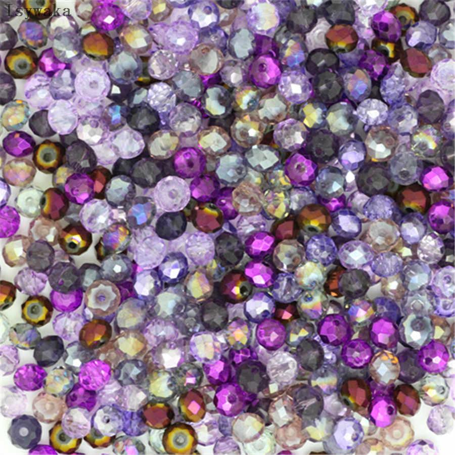 Isywaka colores azul claro 4*6mm 50 Uds Rondelle Austria cuentas de vidrio de cristal facetadas espaciador suelto cuentas redondas para la fabricación de joyas