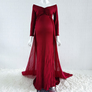 Image 3 - Baby Shower Jersey Dresses Maternity Photography Long Dress with Cloak Fitted Pregnancy Dresses Chiffon Cloak  Maternity Gown