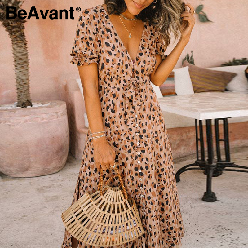 BeAvant Leoprad Print Fashion Midi Dress Women 2020 Short Sleeve Boho Casual Dress Female High Wasit Summer Split Sexy Dresses